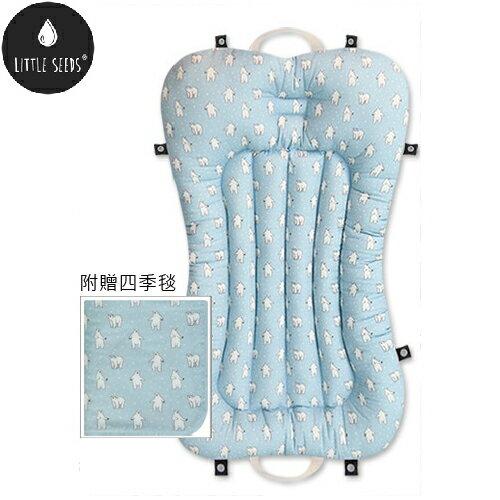 【贈四季毯+收納袋】韓國【Little Seeds】嬰兒口袋床墊組-北極熊