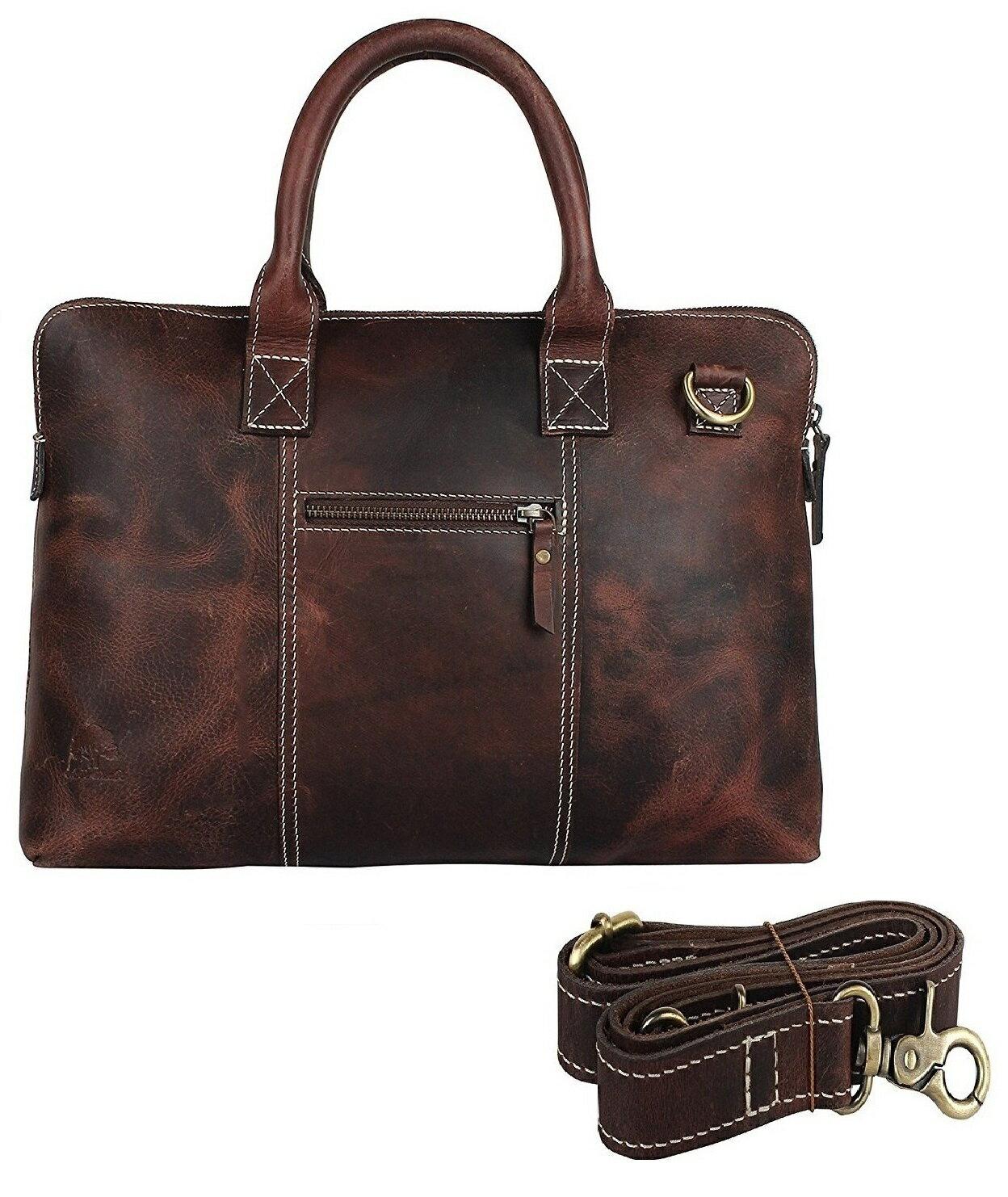 14 inch Genuine Leather Briefcase Bag - Crossbody Laptop Satchel by Rustic  Town 0 da2b67a5578fc