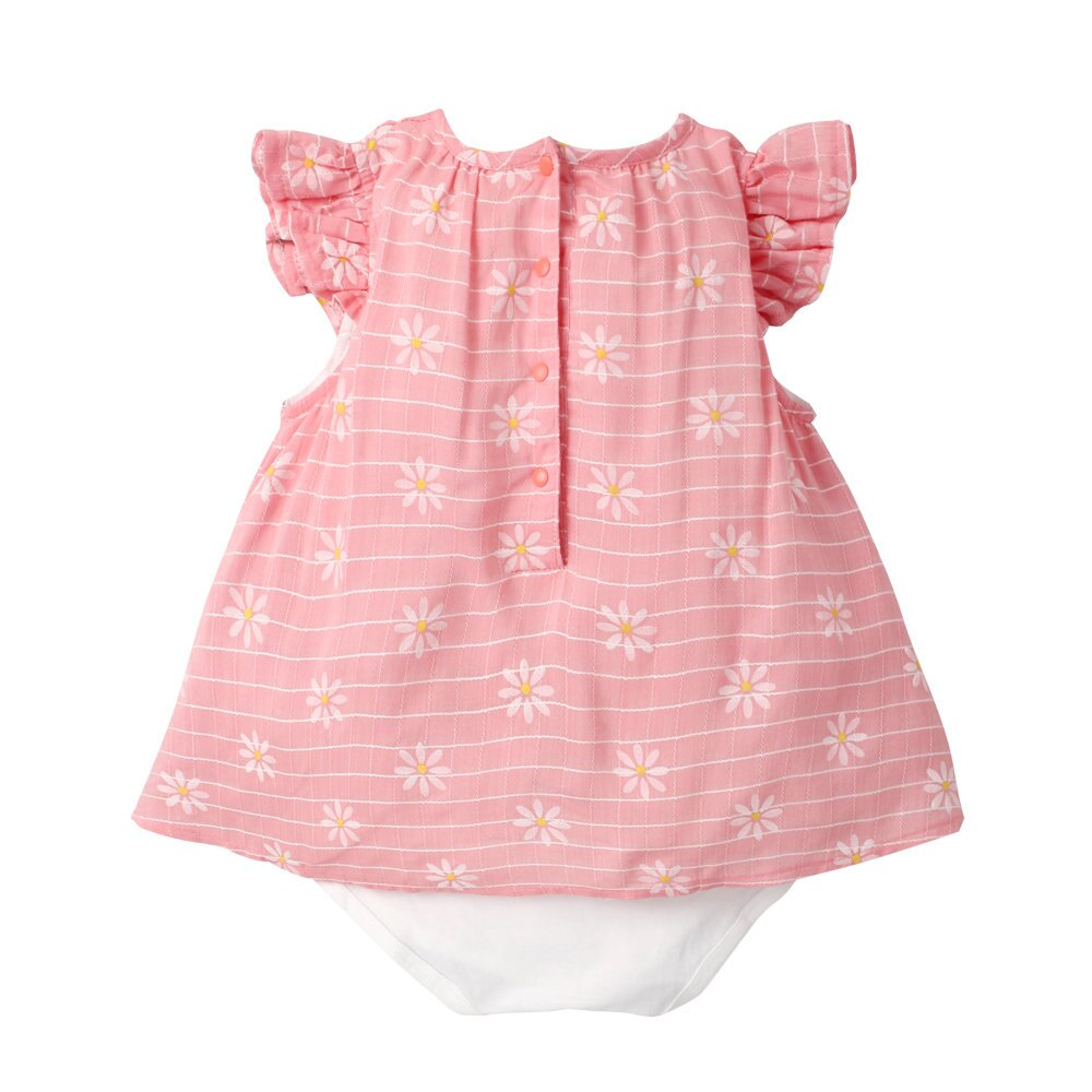 Augelute Baby 小碎花梭織格紋假兩件包屁裙 60184 4