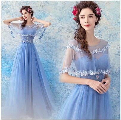天使嫁衣:天使嫁衣【AE1568】藍紫色夢幻披肩花朵美胸齊地晚禮服˙預購訂製款