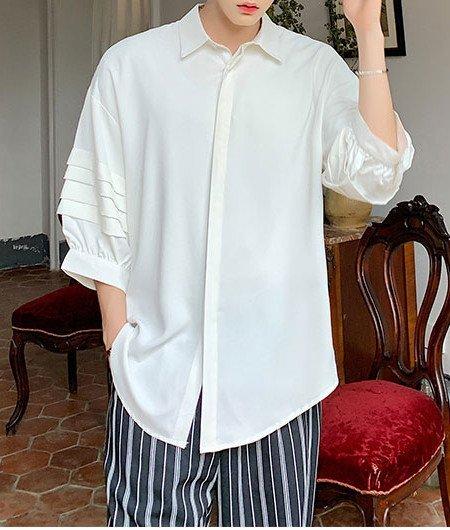 FINDSENSE品牌 訂製 韓系男裝 G6正韓時尚素面七分袖短袖男白襯衫五分袖潮牌洋裝簡約寬鬆黑色白色男裝日本風男上衣