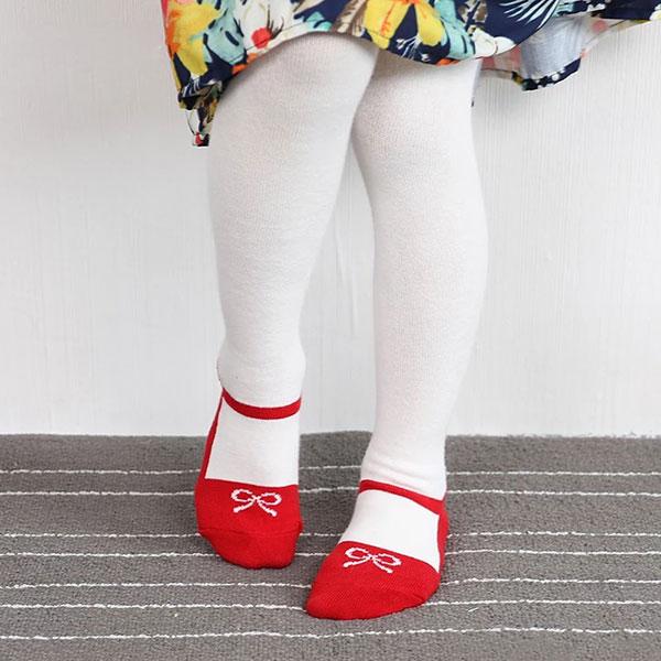 ins 假鞋子 褲襪 芭蕾舞 蝴蝶結 娃娃鞋 公主 洋裝 小禮服 女童 寶寶 嬰兒 襪子 黑紅白 歐美 新年 聖誕 小香 ANNA S.