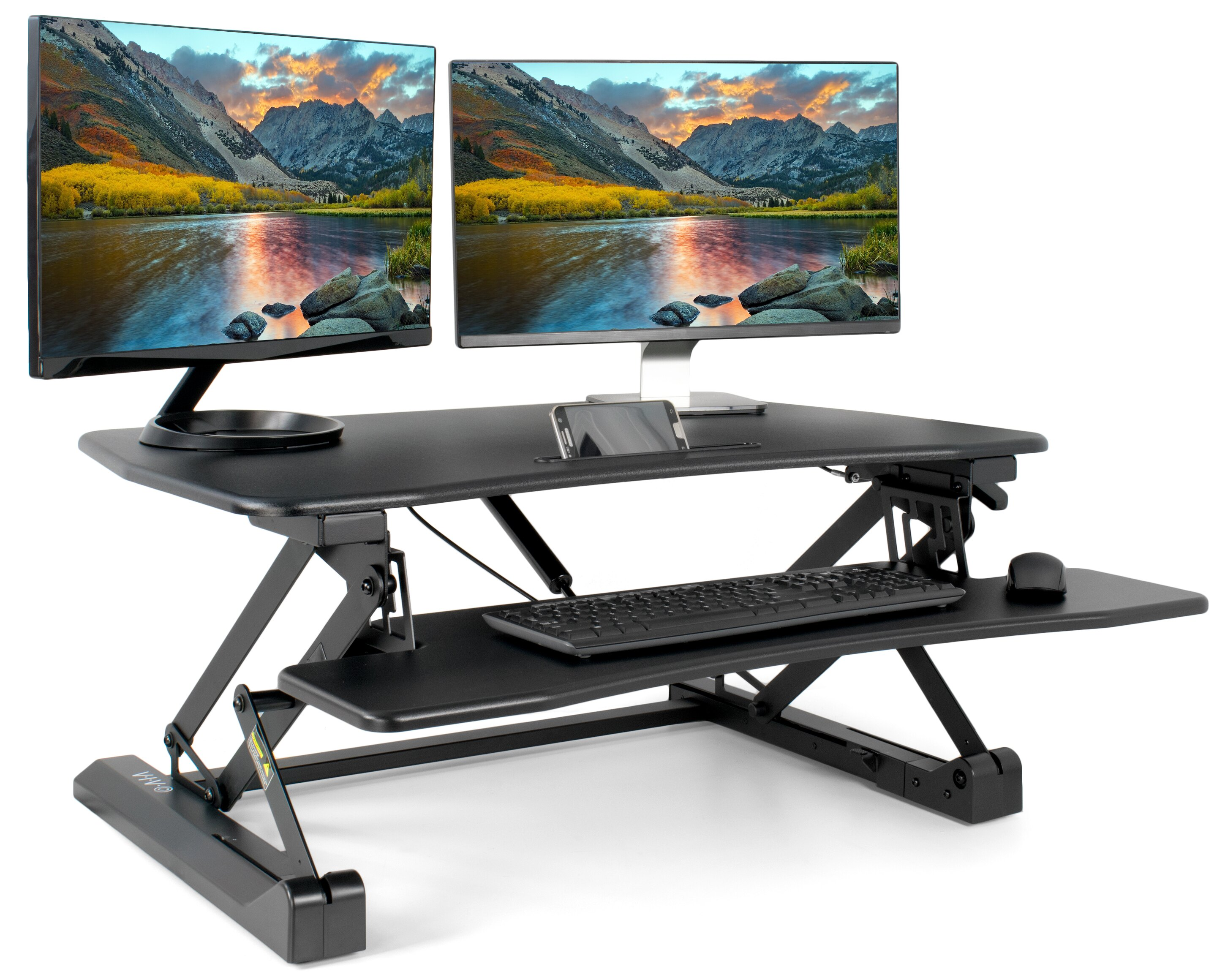 vivo black height adjustable standing desk single touch gas spring 36 tabletop riser sit - Height Adjustable Standing Desk