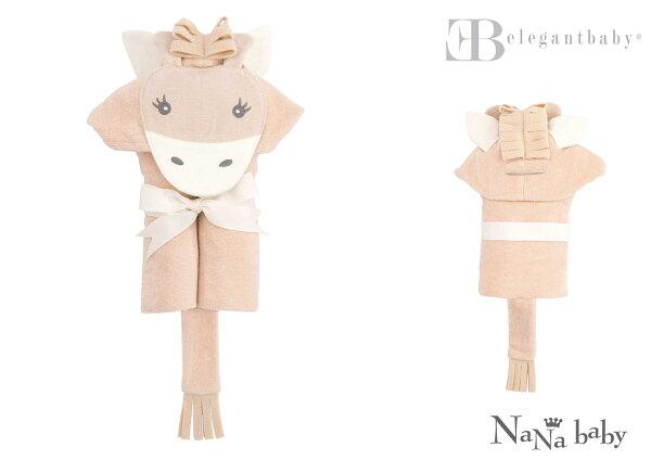 NANABABY:【美國ElegantBaby】動物造型連帽浴巾-長頸鹿#79586