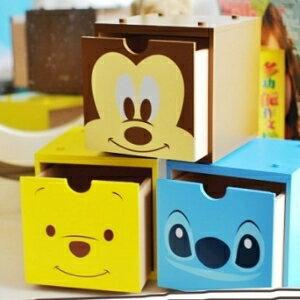 美麗大街【105040606】迪士尼米奇維尼史迪奇大頭小物桌面木製積木收納箱