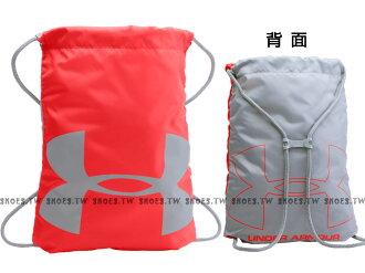 Shoestw【1240539-984】UA 束口袋 鞋袋 雙面背 大LOGO 防潑水 橘紅/灰
