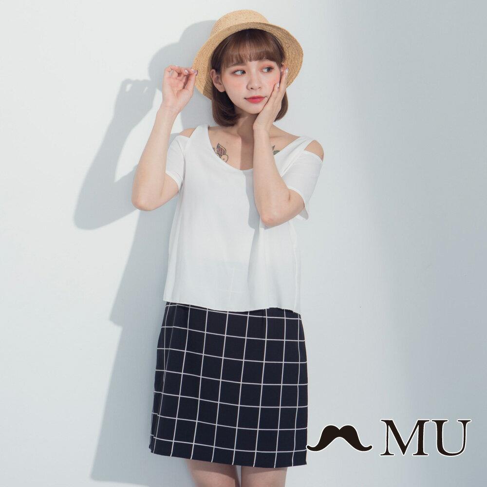 【MU】假兩件露肩格紋裙擺洋裝 7317165 0