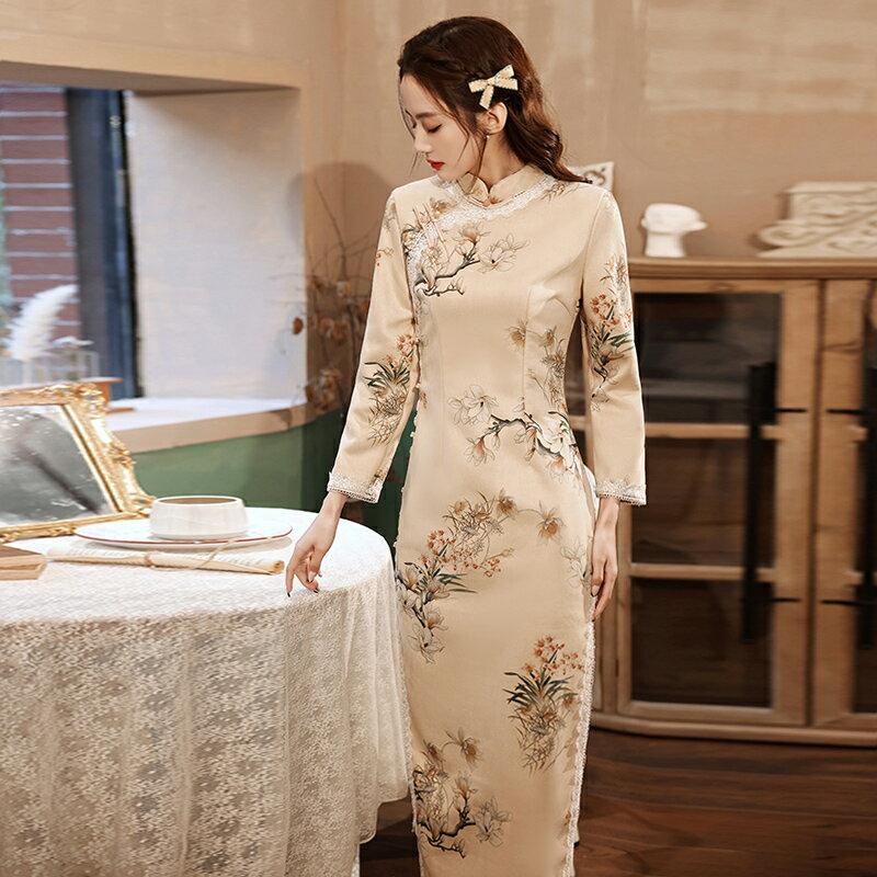 改良旗袍秋裝2121年新款氣質加厚年輕款少女連身裙女人味名媛冬天 【私人小鋪】