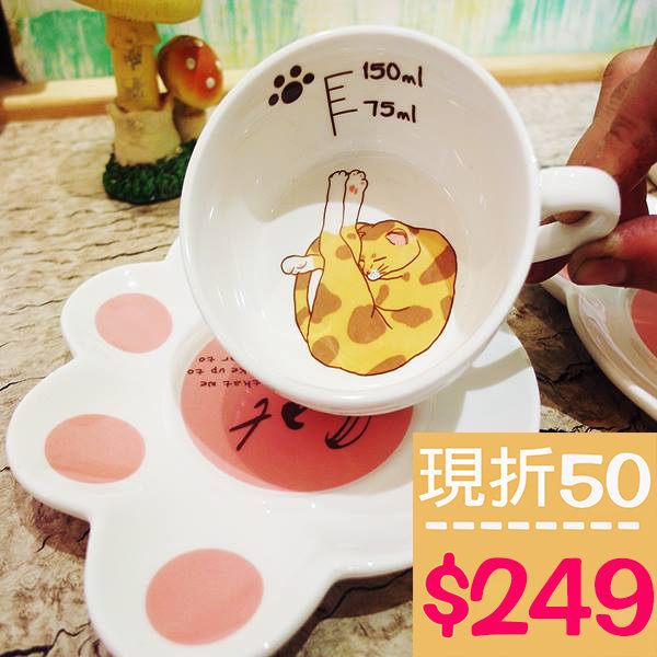 小熊日系^~ 貓咪 陶瓷聖誕 咖啡杯 瓷杯子 馬克杯 附腳掌杯盤 水杯 超療癒