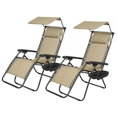 Set Of 2 Zero Gravity Patio Chairs With Canopy And Cup Holders   Tan 0