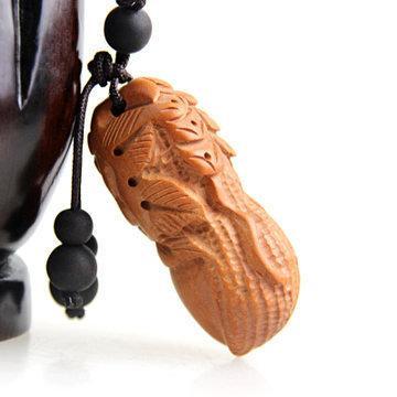 開光桃木花生掛件 立體雕刻花生富貴鑰匙扣 送子送福