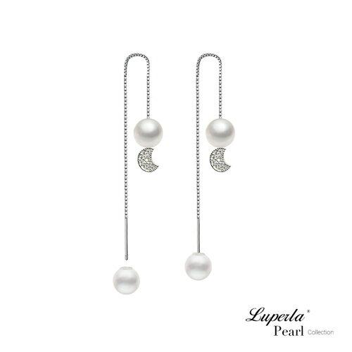 大東山珠寶 純潔月光 日本AKOYA天然海水珍珠純銀晶鑽耳環 雙珠耳線兩用款 0