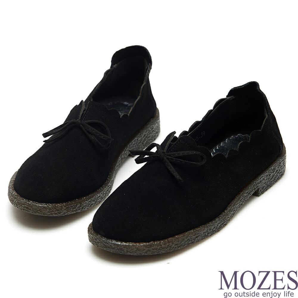 【MOZES】舒適麂皮波浪滾邊蝴蝶結平底鞋(麂皮娃娃鞋-黑