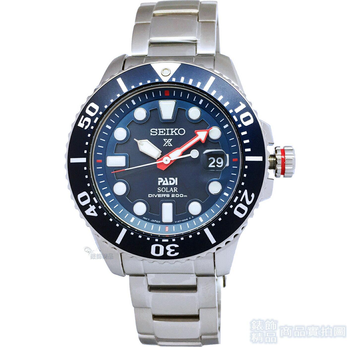 【錶飾精品】SEIKO 腕錶 SNE435P1 精工表PROSPEX環保太陽能PADI專業潛水 男錶 藍 200M夜光日期