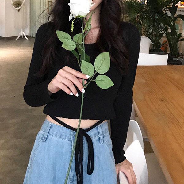 腰細繩長袖螺紋針織T短版素面上衣露腰顯瘦百搭素T黑白韓國ANNAS.