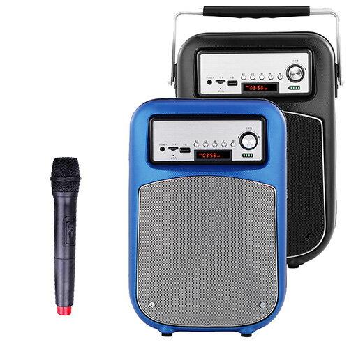 大聲公晶鑽型無線式多功能行動音箱/喇叭 (單無線麥克風組)