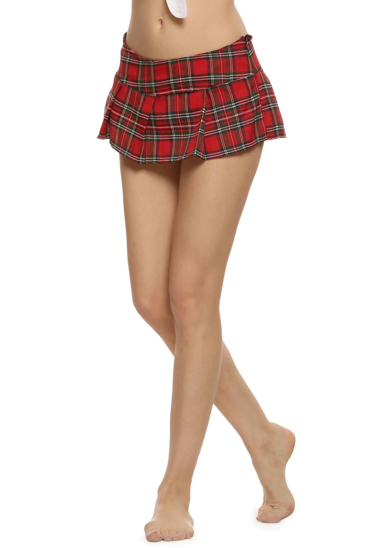 Sexy Lady Schoolgirl Cosplay Sleepwear Plaid Night Mini Pleated Skirt 0