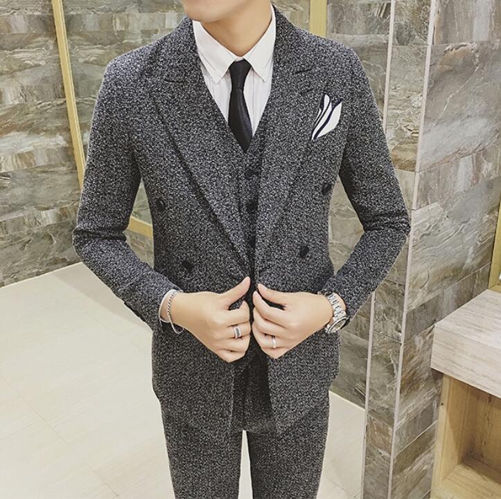 FINDSENSE品牌 韓國男 芝麻點 雙排扣 小西裝 修身西裝 西裝外套 單件外套