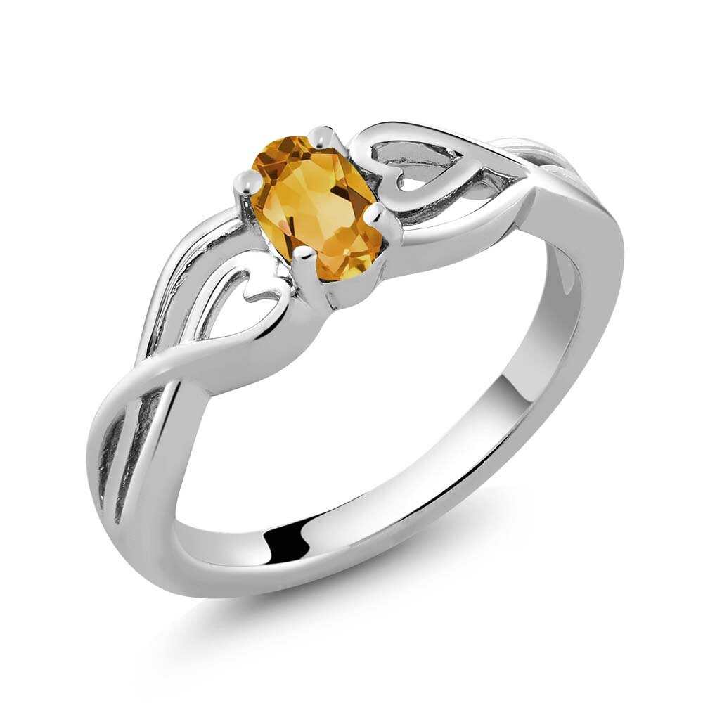 0.40 Ct Oval Yellow Citrine 925 Sterling Silver Ring 0