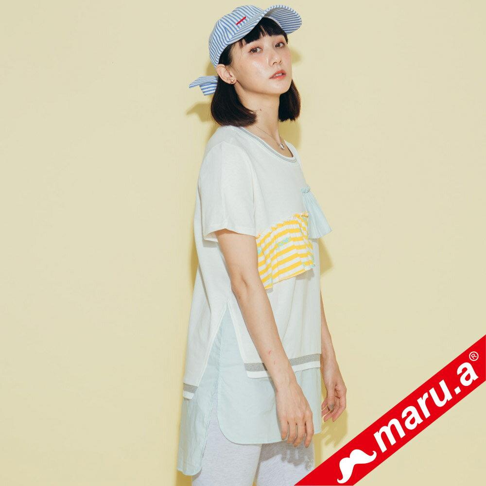 【maru.a】繽紛拼貼荷葉邊長版上衣(2色)8321315 1