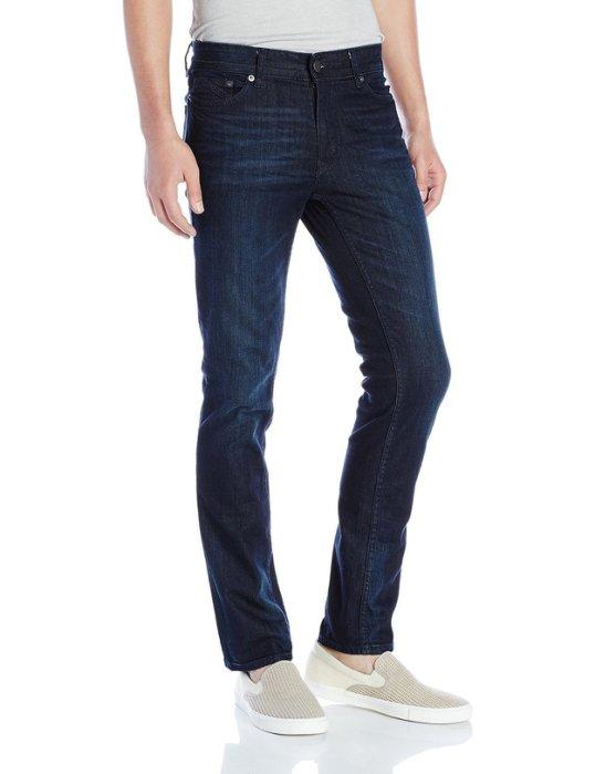 美國百分百【Calvin Klein】牛仔褲 CK 休閒褲 長褲 單寧 小直筒 修身 男 深藍 小抓紋 30 34腰 H286