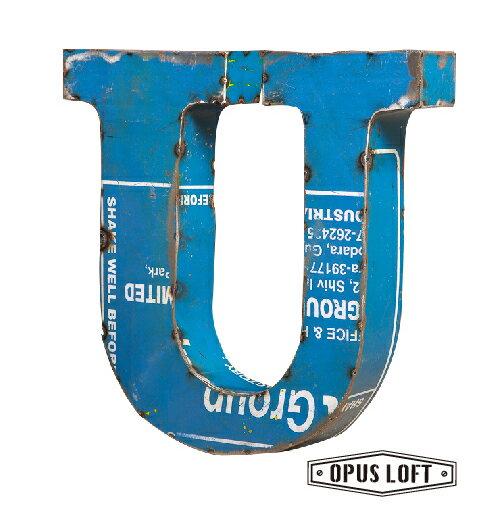 復古LOFT工業風 鐵製英文字母U 擺飾/裝飾