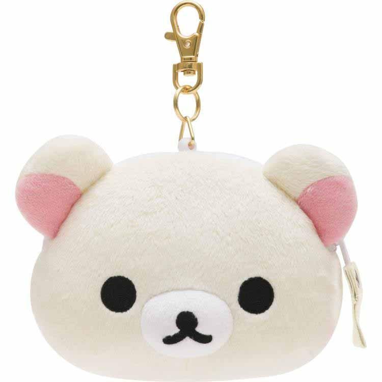 【真愛日本】16090400004伸縮拉鍊證件零錢包-奶熊大頭 SAN-X 懶熊 奶熊 拉拉熊  收納袋 零錢包