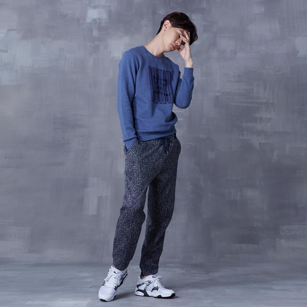 【秋冬精選】印花條碼圖長袖T恤(藍) - BLUE WAY  BlueKONn.空 2