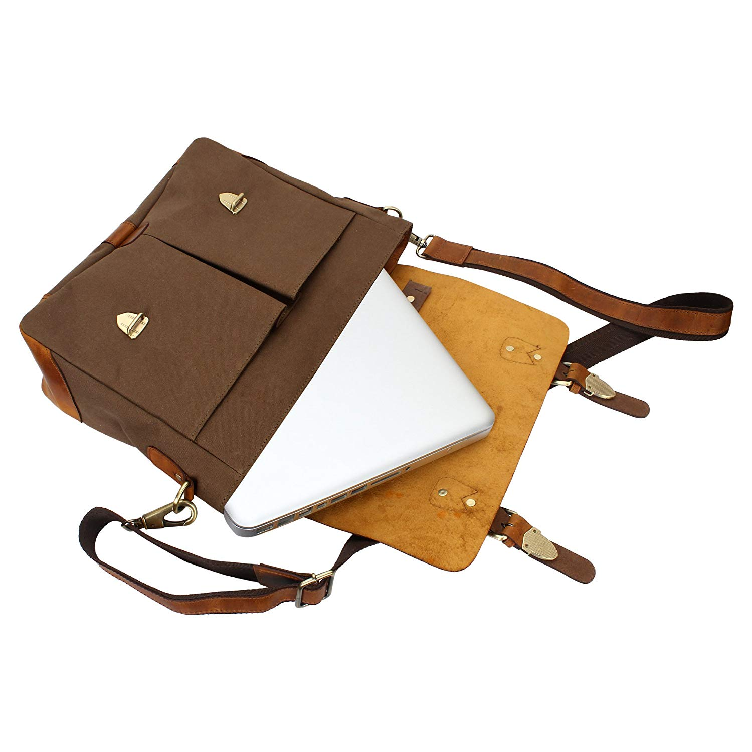 5c41d792e777 15 Inch Rustic Town Handmade Leather Canvas Vintage Crossbody Messenger Bag  Gift Men Women Travel Work
