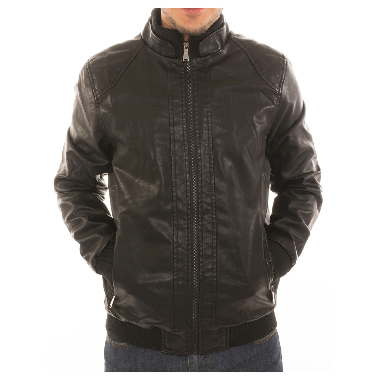 Alta Men's Motorcycle Bomber Faux Leather Fleece Lined Ribbed Jacket - Black - M 0