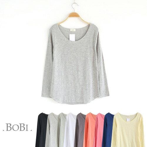 T恤 純色不收邊圓弧下襬長袖T恤【MZTX16035】 BOBI  08/18 0