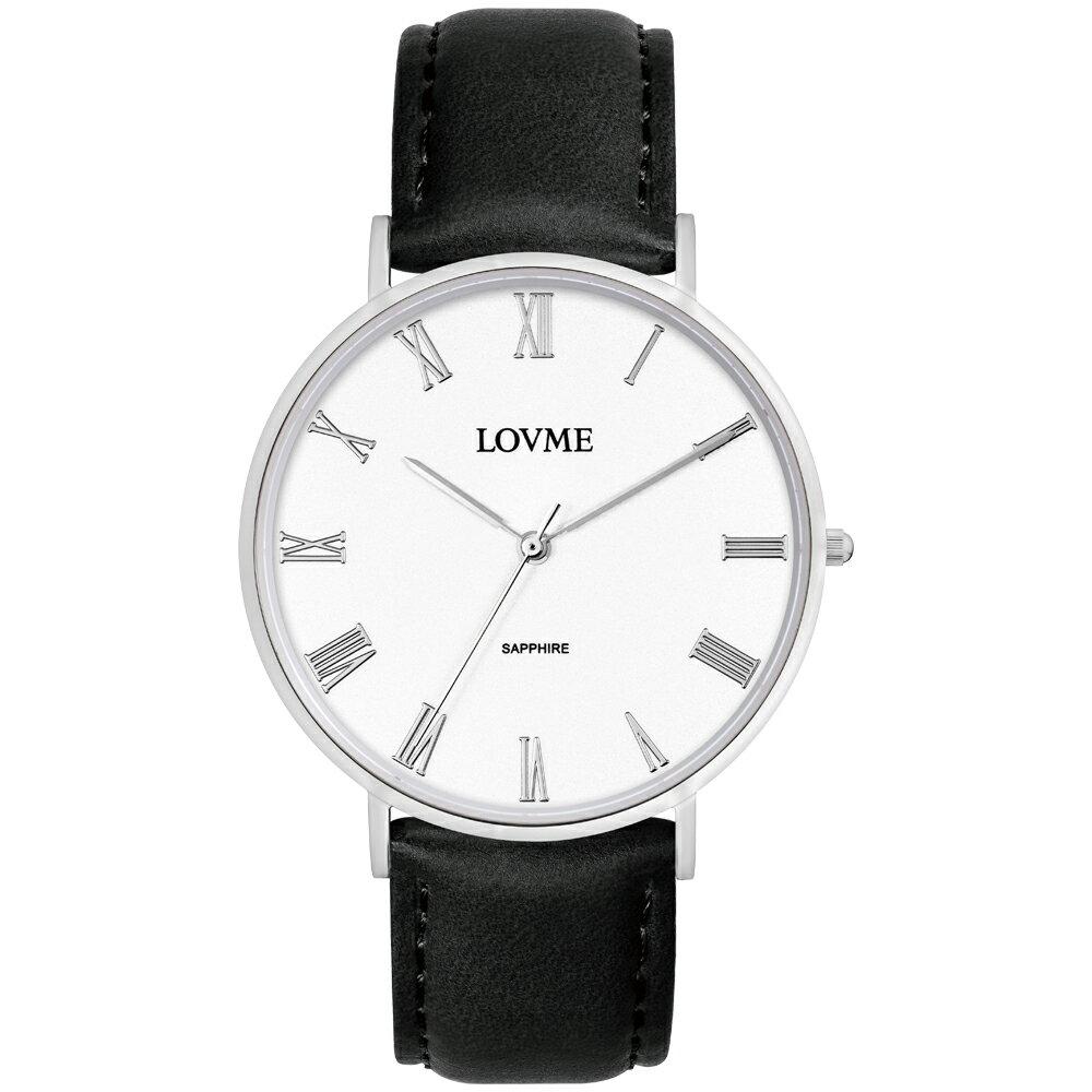 【易奇網】LOVME 羅馬學院風時尚婉錶-不鏽鋼錶殼x義大利素紋皮革黑色帶x經典銀色羅馬字面板/41mm