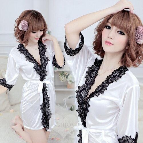 [漫朵拉情趣用品]愛在今宵!大碼長袖透明蕾絲和服式睡衣﹝白﹞ NO.530712