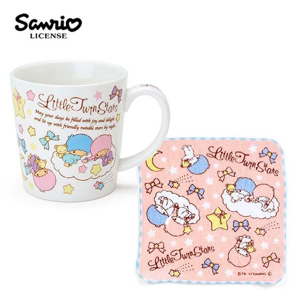 【日本正版】雙子星 陶瓷 馬克杯 小方巾 250ml 咖啡杯 KIKILALA 三麗鷗 Sanrio - 443672