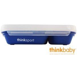 兒童餐具-Baby Joy World-美國Thinkbaby BPA Free不鏽鋼餐盤組 兒童便當盒餐盤組(附湯匙叉子+上蓋)-深藍色