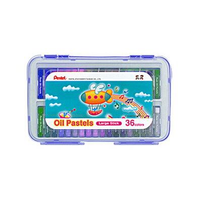 ~文具通~Pentel 飛龍 GHTP~36S 特大粉蠟筆 PP盒粉蠟筆 36色 藍盒 A