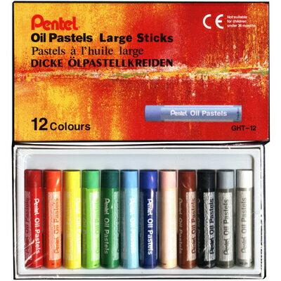 【文具通】Pentel 飛龍 GHT-12T 特大粉蠟筆系列 12色 A1120253