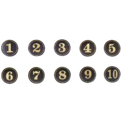 【文具通】A1 圓桌牌標示牌 數字可貼 黑底金字 14# 直徑5cm AA010606