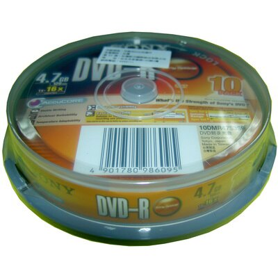 ~文具通~SONY DVD~R 16x 10入布丁桶 B4010473