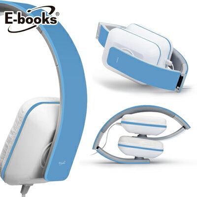 【文具通】E-books S3 線控接聽頭戴摺疊耳機藍 E-EPA055BL