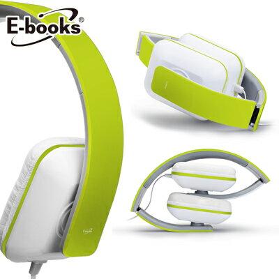 【文具通】E-books S3 線控接聽頭戴摺疊耳機綠 E-EPA055GN