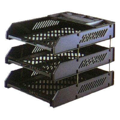 【文具通】DR龍和塑膠組合三層公文架附筆盤DR-423灰 L3010085