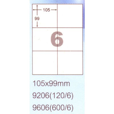 【文具通】阿波羅9206影印自黏標籤貼紙6格105x99mm P1410138