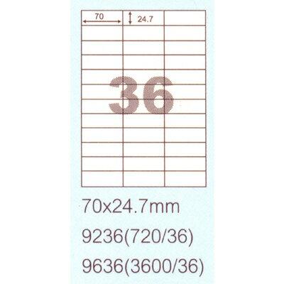 【文具通】阿波羅9236影印自黏標籤貼紙36格70x24.7mm P1410155