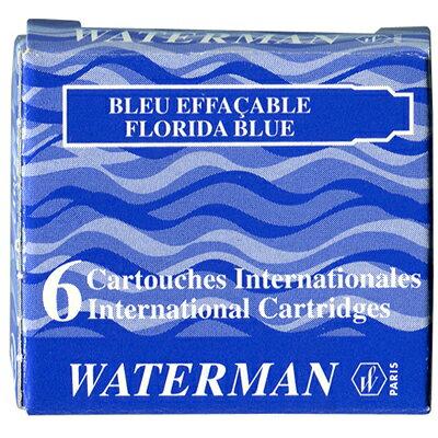 【文具通】WATERMAN 袖珍型卡式墨水-6入藍黑 WTM-W0111000