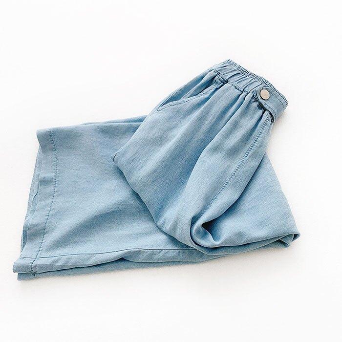 七分褲 素色 寬管褲 垂墜感 薄款 鈕扣 裝飾 鬆緊腰 七分褲【HA821】 BOBI  05 / 30 3