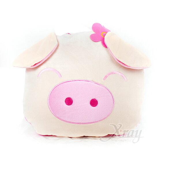 X射線【C020002】粉紅豬-棉被抱枕,可當棉被又可收納成抱枕/枕頭/抱枕/靠墊/午睡枕