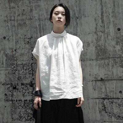 短袖T恤短款-寬鬆褶皺個性反穿立領女上衣2色73sl3【獨家進口】【米蘭精品】