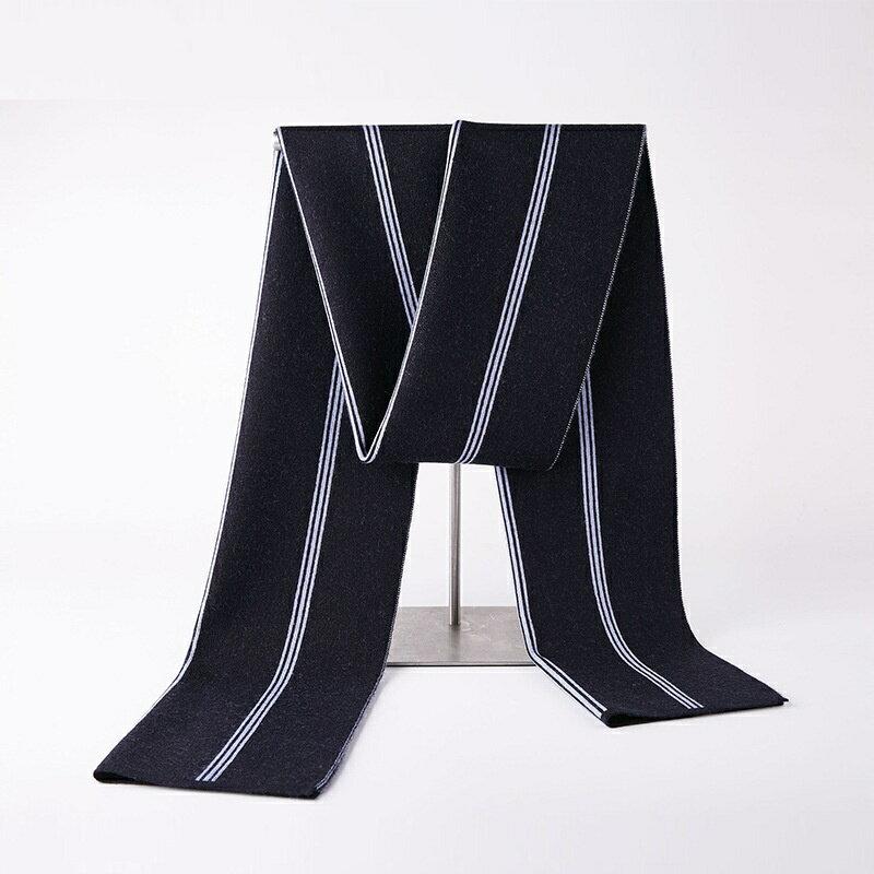 圍巾針織披肩-商務條紋提花羊毛男配件3色73wi84【獨家進口】【米蘭精品】