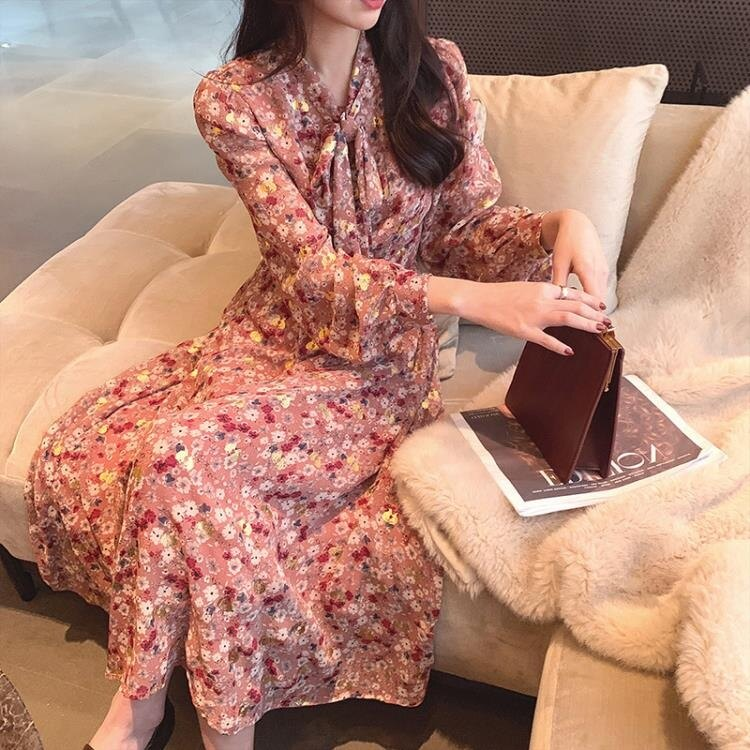 唯品会特卖女装清仓温柔宽松大码裙复古法式中长款碎花雪纺洋裝 korea時尚記